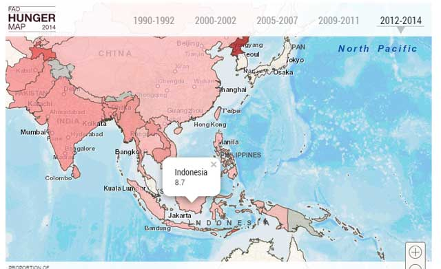 Satu dari 11 orang Indonesia kelaparan